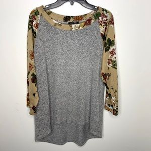 < Papermoon Floral Baseball Top >